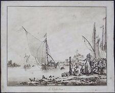 RARE 1773 LE COCHE D'EAU by JEAN-BAPTISTE LE PRINCE ENGRAVING WITH AQUATINT~GOOD