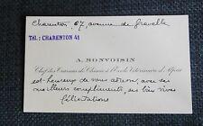 ECOLE VETERINAIRE D'ALFORT carte de visite autographe MONVOISIN chef chimie