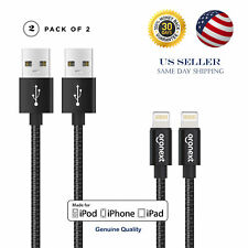 2 Pack Apple Certified MFI Lightning Cable Data Sync Charger iPhone 7S 8 X Plus