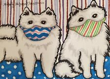 American Eskimo Dog Masks Giclee Art Print 11x14 Signed by Artist Ksams Vintage