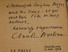 CLAUDE AVELINE Le POINT DU JOUR 1928 CHRONIQUE ADOLESCENCE ENVOI Signé RESISTANT