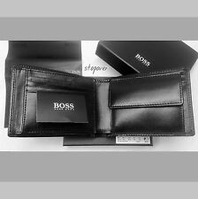 BRAND NEW DESIGNER HUGO BOSS 'AREZZO' MENS TRI-FOLD, BLACK, COIN POCKET WALLET