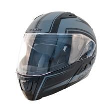Motorcycle Helmet Modular Flip Up Dual Visor Zox Condor Matte Grey Black DOT ECE