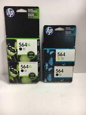 4 Genuine HP 564 ink cartridge LOT (2) 564XL Black (1) 564 Black (1) 564 Yellow