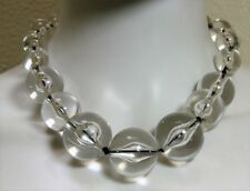 Necklace Choker Mod Style Clear Lucite Oversized Bead Strand