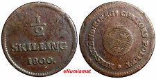 SWEDEN COPPER King Gustaf IV Adolf  1800 1/2 Skilling KM#549