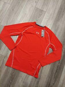 NWT Under Armour Men's HeatGear Compression Long Sleeve Shirt Size 2XL Red XXL