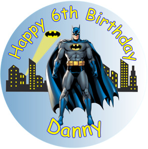 "Batman personalised Edible icing sheet cake topper 7.5"" Round Birthday"