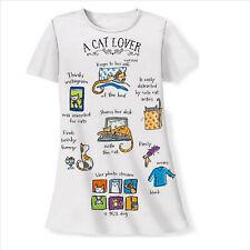 NWT A Cat Lover Night Shirt Sleep Shirt White Cotton One Size