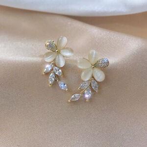 925 Silver Flower Opal Crystal Leaf Gold Earring Ear Stud Women Jewelry Gifts