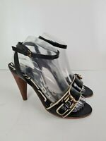Marc by Marc Jacobs Leather Open Tow Buckle Strappy Cone High Heel Women's EUR38