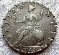 GREAT BRITAIN GEORGE II 1744 HALFPENNY, US COLONIAL COIN, COPPER, damaged