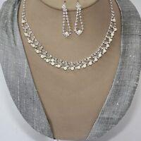 Juego de joyas collar pendiente cristal strass Novia Colgante Cadena Plata 95