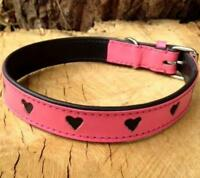 HAND-CRAFTED PINK LEATHER DOG COLLAR GIRL SOFT PRETTY CUTE HEARTS PADDED M / L