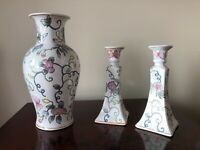 """80s Macy's 12"""" Vase & 8.5"""" Candlesticks White Porcelain Hand Painted Floral"""