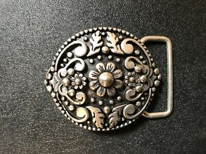 Rare Italian made Flower & Vine women's belt buckle .Italian old silver plaiting