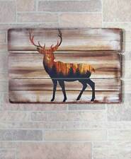 Rustic Deer Buck Silhouette Wall Art Plaque Lodge Log Cabin Home Decor 23x16