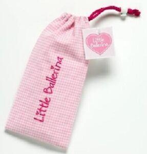 Ballet Shoe Bag Girls Pink Gingham Small Drawstring Bag by Little Ballerina BNIB