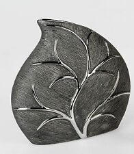 Formano DEKO Vase Baum Tischvase Keramikvase 26 Cm Silber