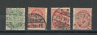 DENMARK-4 USED STAMPS-DEFINITIVE-ARMS-Different colors on some stamps-1884/1902.