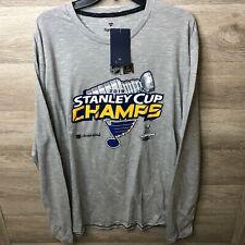 Fanatics Mens XL St Louis Blues Hockey Gray Long Sleeve Shirt NEW