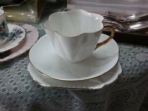 SHELLEY DAINTY WHITE TEA CUP, SAUCER & PLATE BONE CHINA ENGLAND