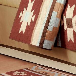 BROWN STRIPE * King BEDSKIRT :  LODGE CANYON CABIN CREAM DUST RUFFLE BED SKIRT