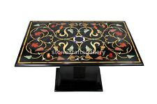 "3'x2' Marble Dining Table Top With 18"" Stand Precious Marquetry Inlay Decor B211"