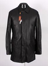 $4495 NWT - LORO PIANA DEER LEATHER / CASHMERE Coat - Black - L Large