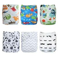 Alva Baby 6pcs Pack Pocket Washable Adjustable Cloth Diaper with 2 Inserts Each