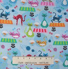 Pet Fabric - Kitty Shop Cats Yarn Paw Print Fish Blue - Robert Kaufman YARD