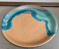Large Round Vintage Studio Pottery Stoneware Ceramic Plate Mid Century Modern