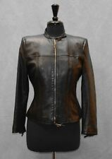 J0 Auth GUCCI Black Leather Zip Front Signature Buckle Strap Moto Jacket Size 44