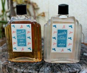 2 Anciens flacons eau de Cologne pour bébé parfum coudray paris