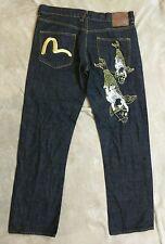 Genuine Evisu Jeans Golden Koi Fish Dark Wash Denim 38x33