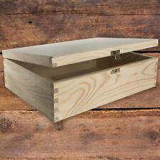 Wooden Box with Lid and Metal Clasp 34x25x10cm/ Plain Pine A4 Documents Storage