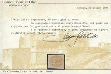 1863 REGNO D'ITALIA SEGNATASSE 10 CENT. GIALLO NR.1 NUOVO * SASSONE €.2.500