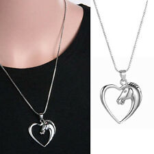 "Ladys 925 Sterling Silver Plated Heart Horse Pendant 18"""" Necklace Chain Jewelry"