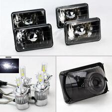 "FOUR 4x6"" Semi Sealed Glass Black Chrome Headlights w/ 6K 36W LED H4 Bulbs Oldsm"