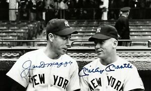 Vintage, Extremely RARE Mickey Mantle & Joe DiMaggio signed Large Photograph
