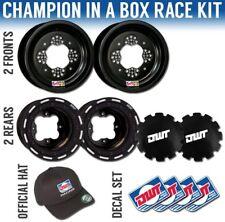 "DWT Black Champion in a Box 10"" Front 9"" Rear Rims Beadlock Rings LTR450 LTZ400"