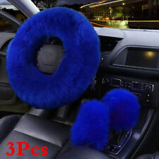 Gem Blue 3Pcs Soft Plush Wool Steering Wheel Cover Furry Fluffy Car Accessories