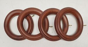 "Select Wooden 2-1/4"" Finials-Rings-Brackets-Holdbacks Chestnut-Curtain Rod"