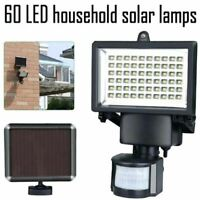 60 LED SOLAR FLOODLIGHT WITH PIR MOTION SENSOR OUTDOOR GARDEN SECURITY LIGHT NEW