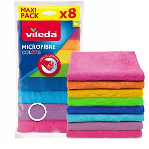 Vileda Microfibre Cloth Cloths 8pcs Microactive 8 Colours Soft Washable Reusable