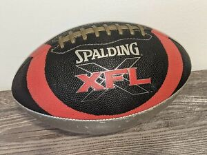 XFL Full-Sized Vintage Spalding Leather Football Black/Red/Silver Official XFL