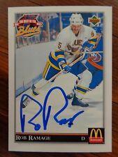 "St. Louis Blues ROB RAMAGE Signed 1992 Upper Deck ""McDonald's"" Card D"