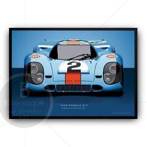 Porsche 917 Poster - Le Mans Racing Car Poster - Porsche Wall Art car print