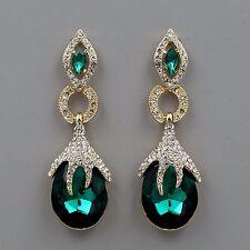 18K Gold Plated GP Emerald Green Crystal Rhinestone Drop Dangle Earrings 00460