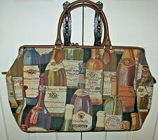 Bueno Tapestery Overnight Travel Weekender Duffel Bag Wine Bottle Design Large
